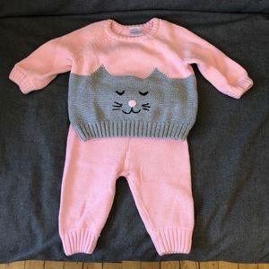 NWOT Hanna Andersson Kitty Cat organic sweater set